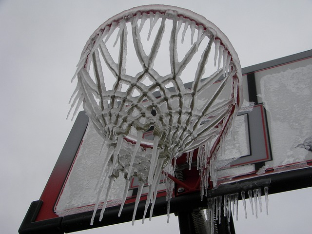 Icicles on basketball goal