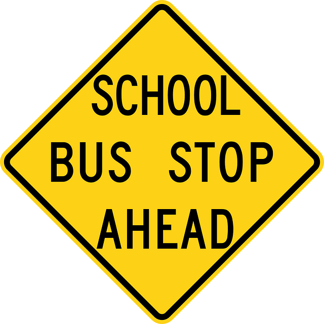 School Bus Stop Ahead Road Sign